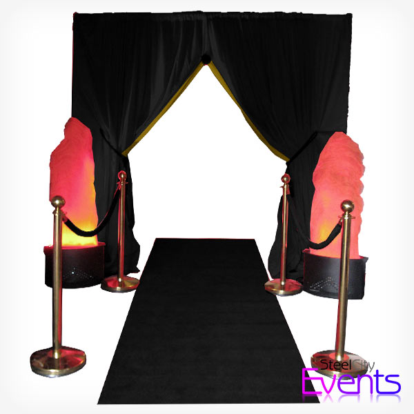 Black & Gold Gatsby Draped Entrance
