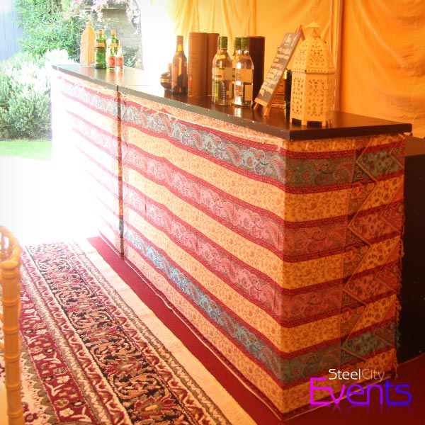 Fabric Covered Wooden Bar Unit